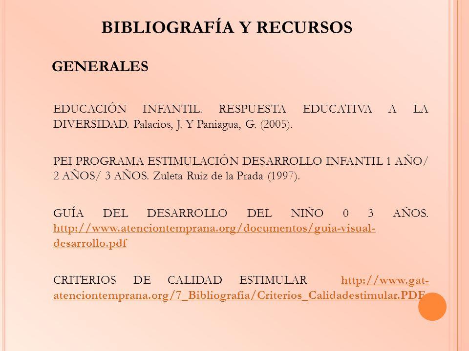 BIBLIOGRAFÍA Y RECURSOS GENERALES EDUCACIÓN INFANTIL. RESPUESTA EDUCATIVA A LA DIVERSIDAD. Palacios, J. Y Paniagua, G. (2005). PEI PROGRAMA ESTIMULACI