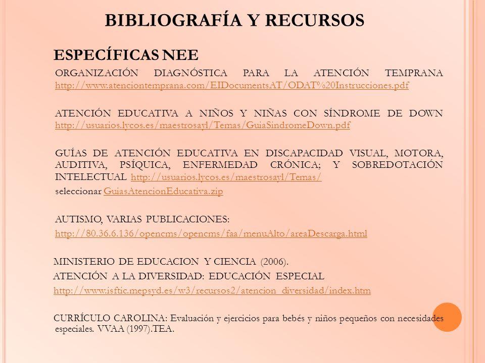 BIBLIOGRAFÍA Y RECURSOS ESPECÍFICAS NEE ORGANIZACIÓN DIAGNÓSTICA PARA LA ATENCIÓN TEMPRANA http://www.atenciontemprana.com/EIDocumentsAT/ODAT%20Instru