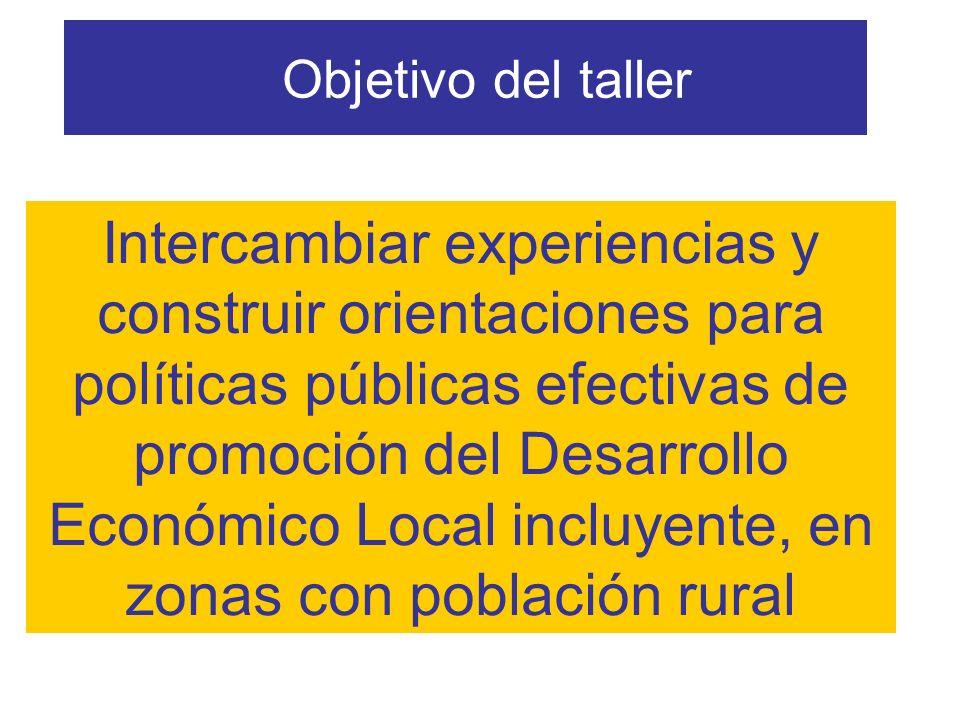Objetivo del taller Intercambiar experiencias y construir orientaciones para políticas públicas efectivas de promoción del Desarrollo Económico Local