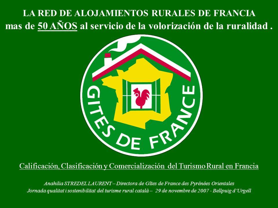 LA RED DE ALOJAMIENTOS RURALES DE FRANCIA mas de 50 AÑOS al servicio de la volorización de la ruralidad. Calificación, Clasificación y Comercializació