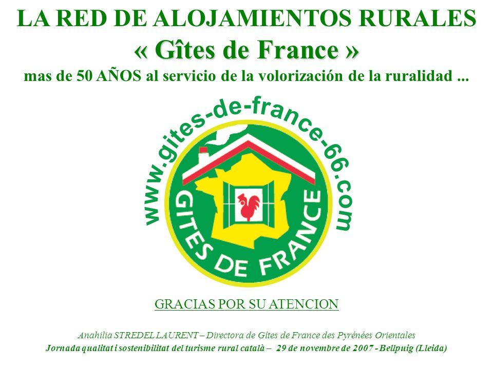 LA RED DE ALOJAMIENTOS RURALES « Gîtes de France » mas de 50 AÑOS al servicio de la volorización de la ruralidad... GRACIAS POR SU ATENCION Anahilia S