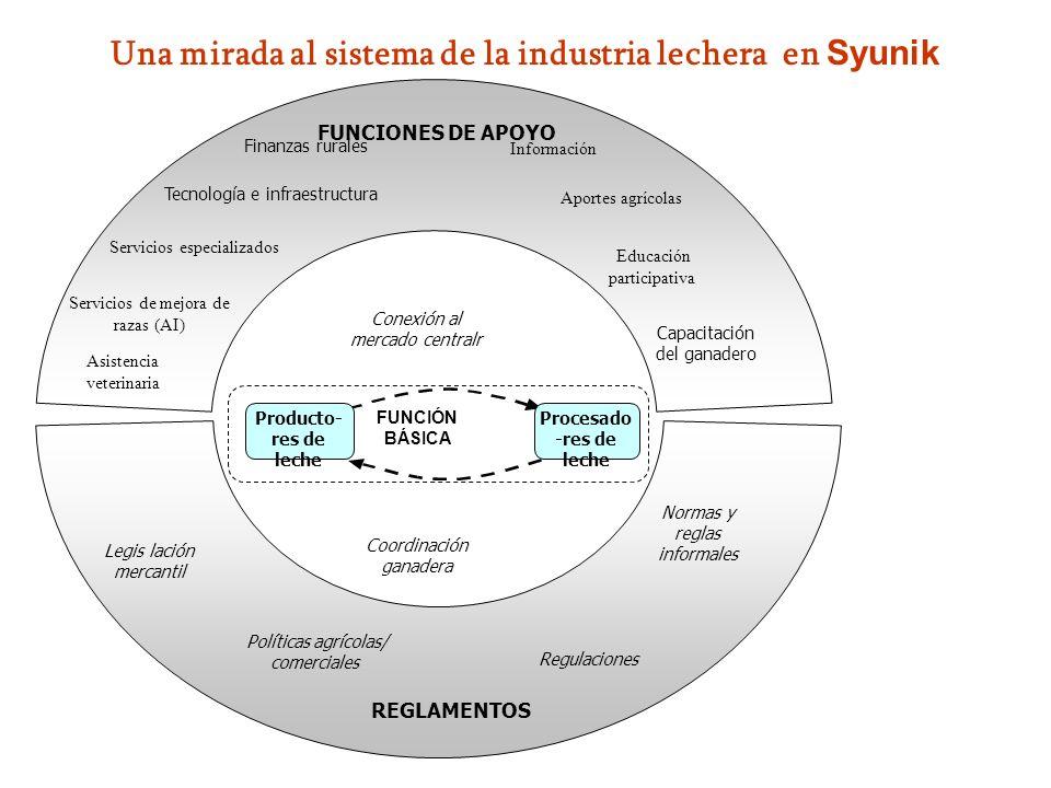 Una mirada al sistema de la industria lechera en Syunik RULES Vet services FUNCIONES DE APOYO FUNCIÓN BÁSICA Producto- res de leche Procesado -res de