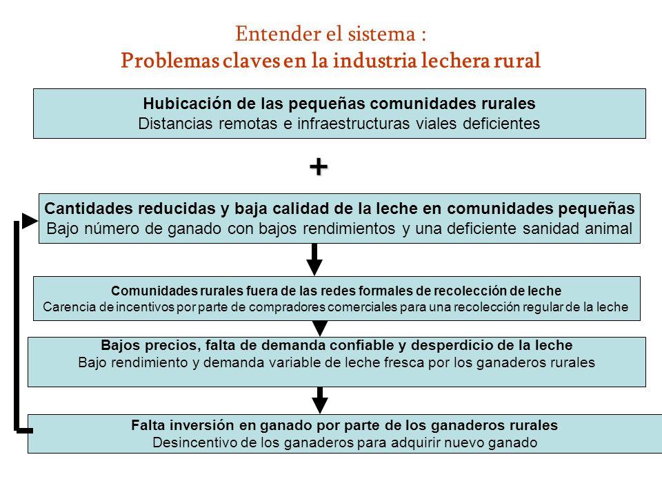 Entender el sistema : Problemas claves en la industria lechera rural Hubicación de las pequeñas comunidades rurales Distancias remotas e infraestructu