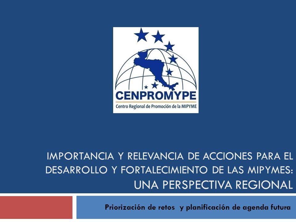 IMPORTANCIA Y RELEVANCIA DE ACCIONES PARA EL DESARROLLO Y FORTALECIMIENTO DE LAS MIPYMES: UNA PERSPECTIVA REGIONAL Priorización de retos y planificaci