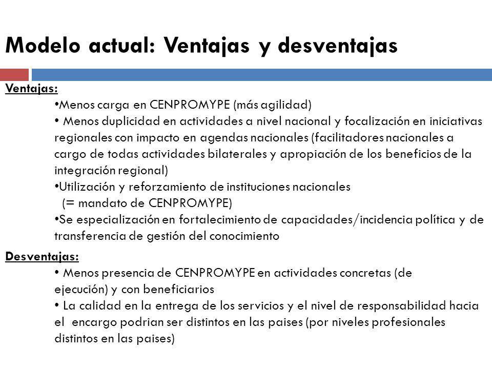 Modelo actual: Ventajas y desventajas Ventajas: Menos carga en CENPROMYPE (más agilidad) Menos duplicidad en actividades a nivel nacional y focalizaci