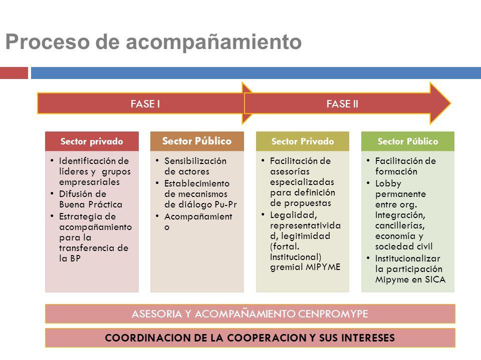 Sector privado Identificación de líderes y grupos empresariales Difusión de Buena Práctica Estrategia de acompañamiento para la transferencia de la BP
