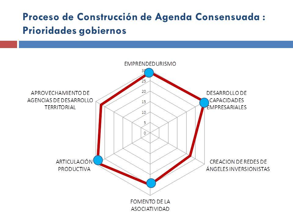 Proceso de Construcción de Agenda Consensuada : Prioridades gobiernos