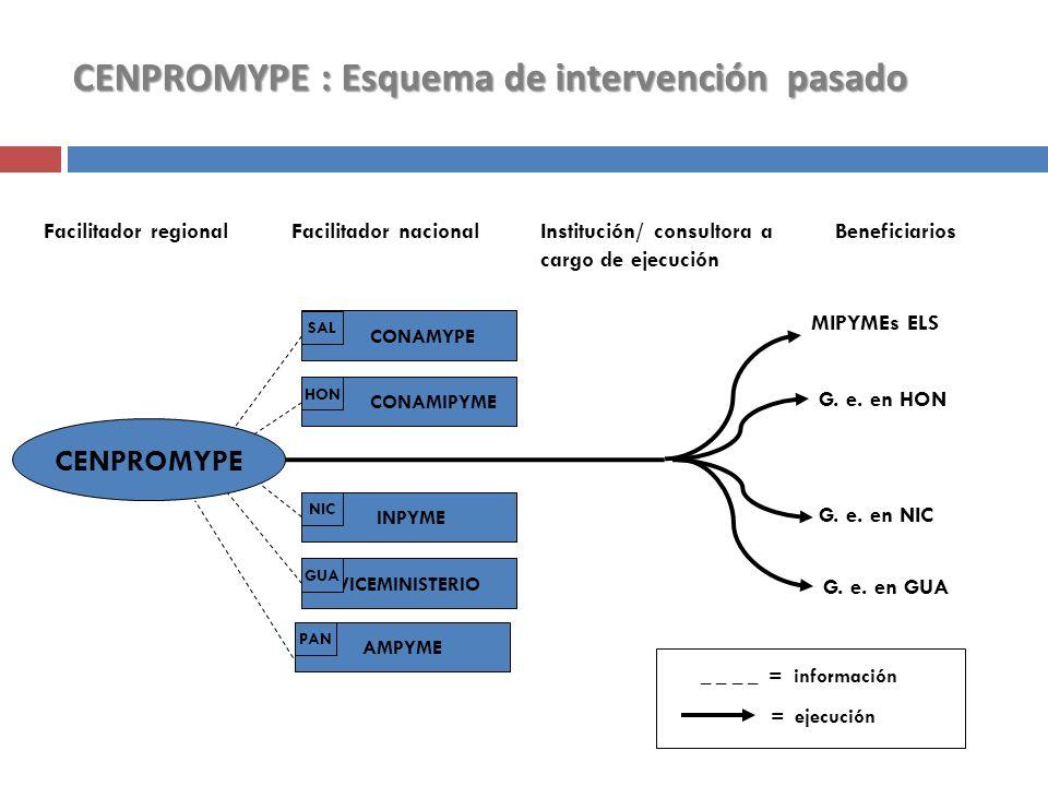 CENPROMYPE : Esquema de intervención pasado Facilitador regionalFacilitador nacional Institución/ consultora a cargo de ejecución Beneficiarios CENPRO
