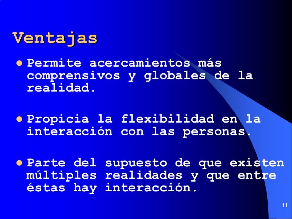 11 Ventajas Permite acercamientos más comprensivos y globales de la realidad. Propicia la flexibilidad en la interacción con las personas. Parte del s
