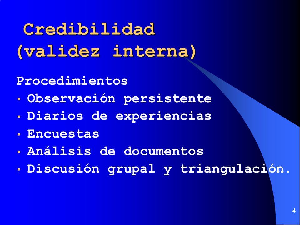 4 Credibilidad (validez interna) Credibilidad (validez interna) Procedimientos Observación persistente Diarios de experiencias Encuestas Análisis de d