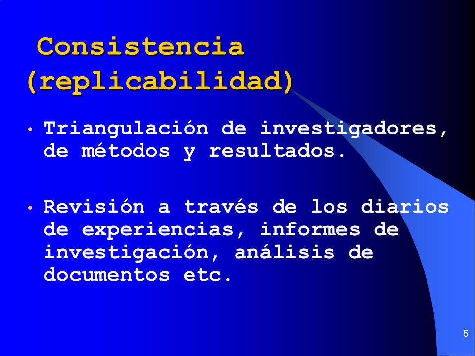 5 Consistencia (replicabilidad) Consistencia (replicabilidad) Triangulación de investigadores, de métodos y resultados. Revisión a través de los diari