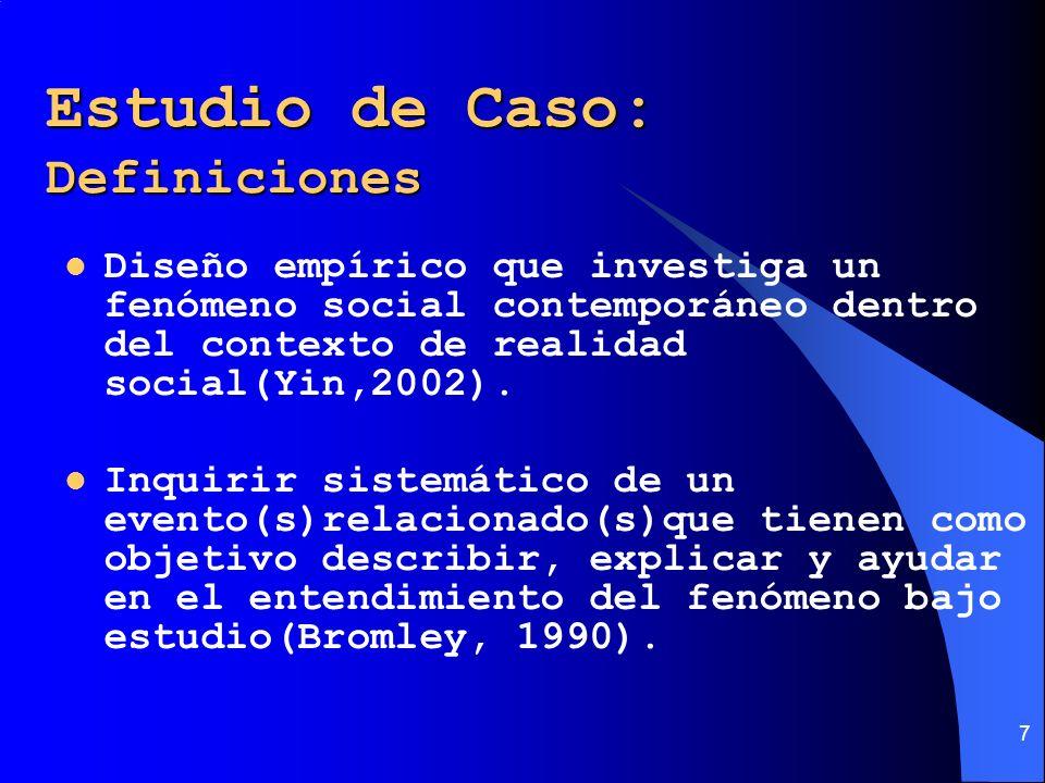 7 Estudio de Caso: Definiciones Diseño empírico que investiga un fenómeno social contemporáneo dentro del contexto de realidad social(Yin,2002). Inqui