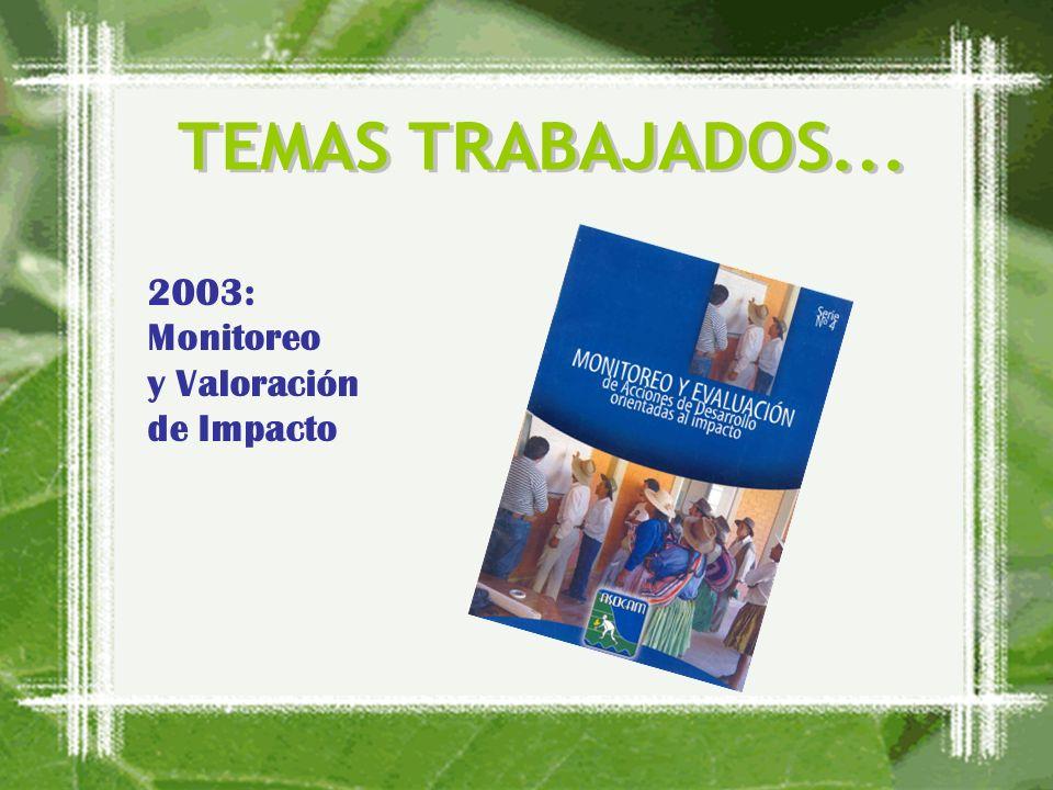 2003: Monitoreo y Valoración de Impacto