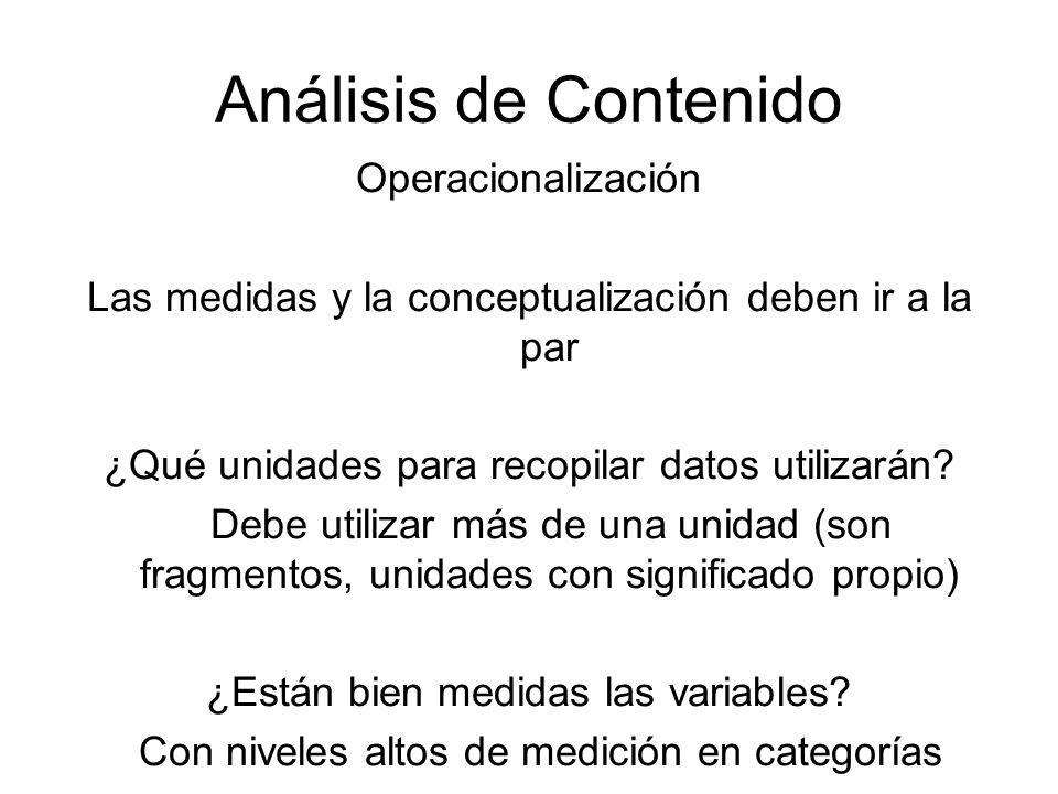 Análisis de Contenido Operacionalización Las medidas y la conceptualización deben ir a la par ¿Qué unidades para recopilar datos utilizarán? Debe util
