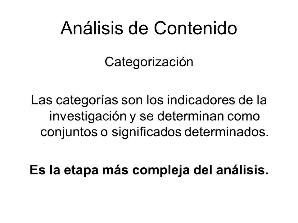 Análisis de Contenido Categorización Las categorías son los indicadores de la investigación y se determinan como conjuntos o significados determinados