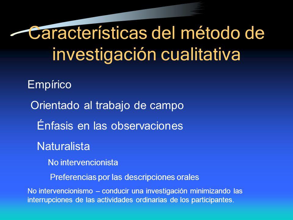 Caracter ísticas del método de investigación cualitativa Empírico Orientado al trabajo de campo Énfasis en las observaciones Naturalista No intervenci