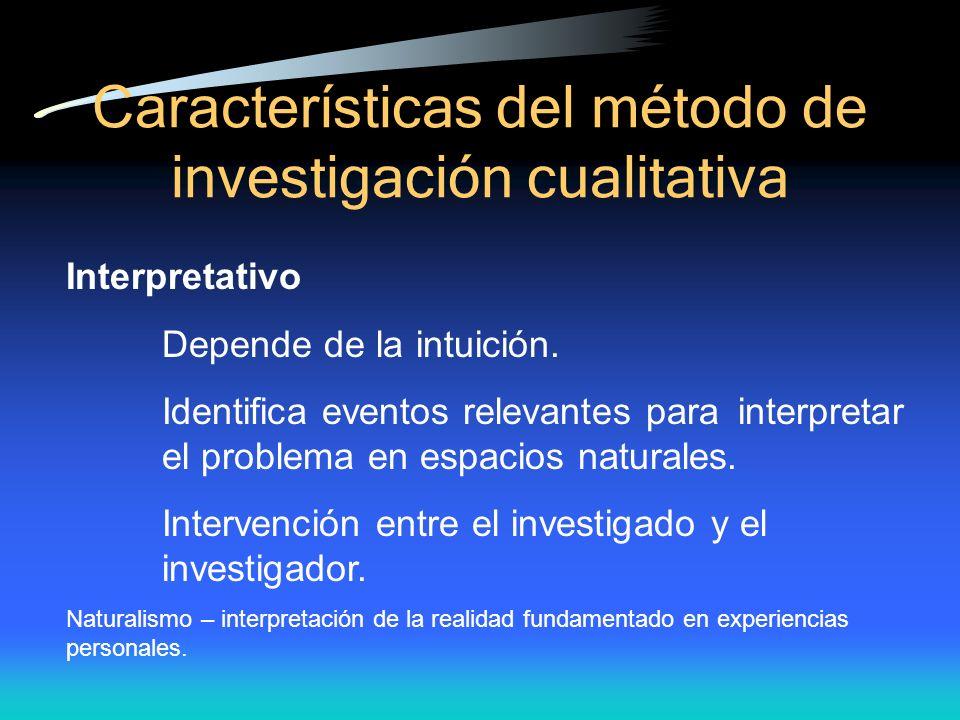 Caracter ísticas del método de investigación cualitativa Interpretativo Depende de la intuición. Identifica eventos relevantes para interpretar el pro