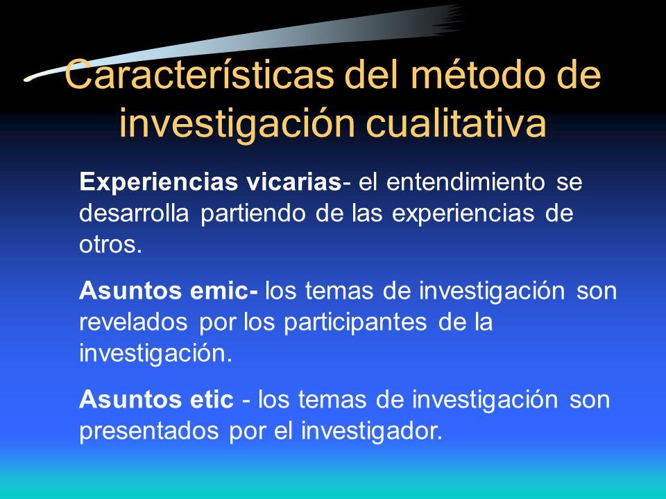 Caracter ísticas del método de investigación cualitativa Experiencias vicarias- el entendimiento se desarrolla partiendo de las experiencias de otros.