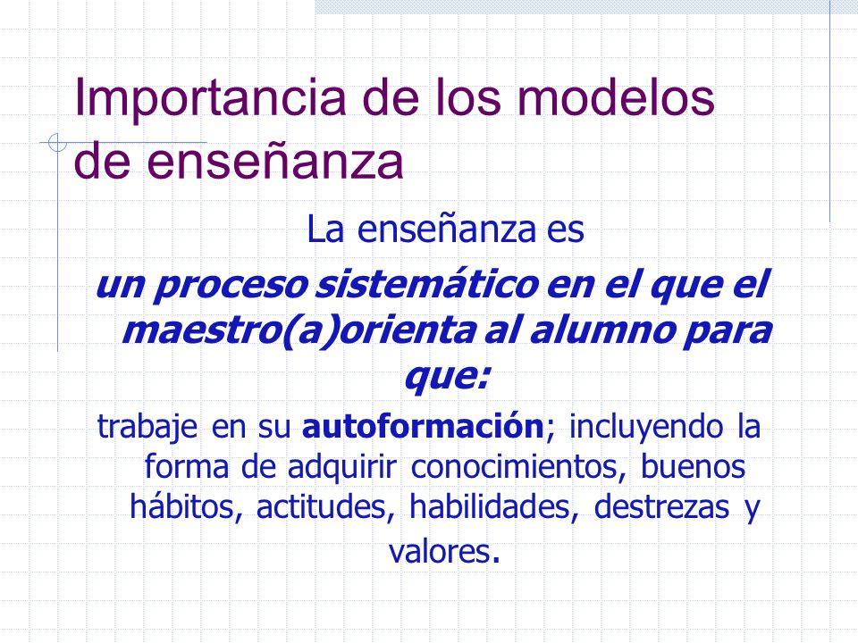 Importancia de los modelos de enseñanza La enseñanza es un proceso sistemático en el que el maestro(a)orienta al alumno para que: trabaje en su autofo