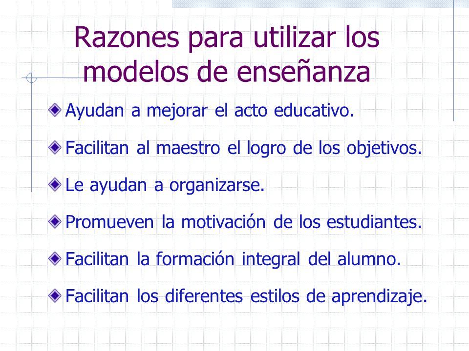 Razones para utilizar los modelos de enseñanza Ayudan a mejorar el acto educativo. Facilitan al maestro el logro de los objetivos. Le ayudan a organiz