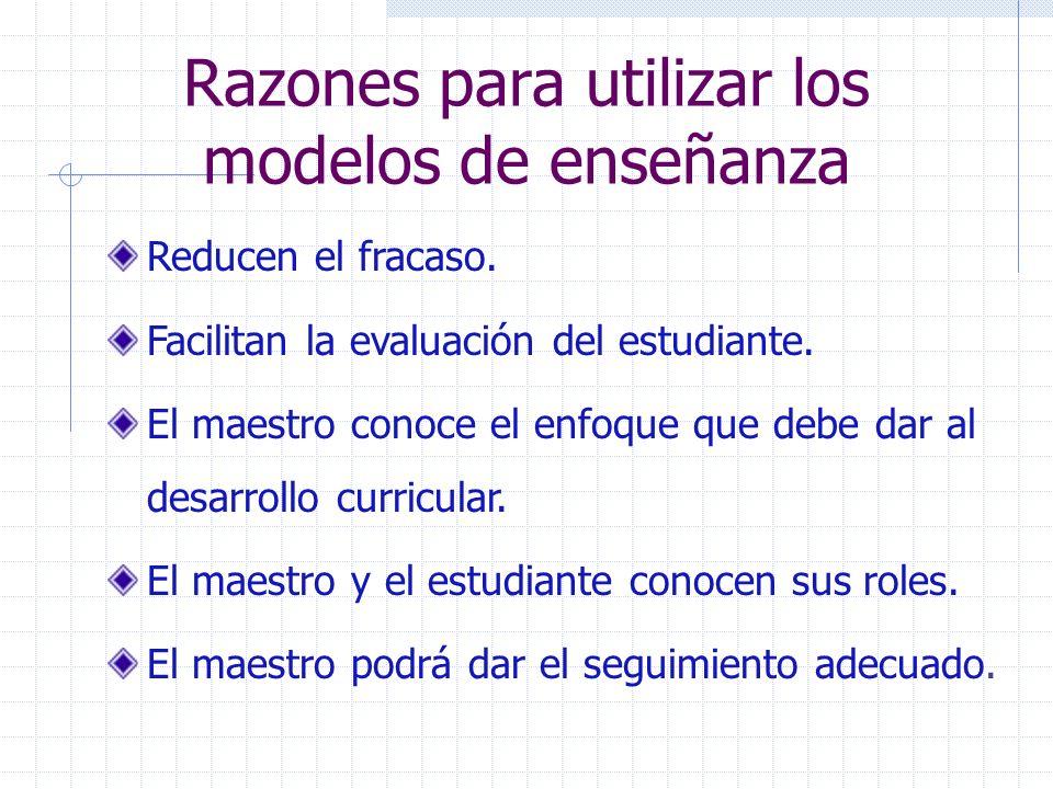 Razones para utilizar los modelos de enseñanza Reducen el fracaso. Facilitan la evaluación del estudiante. El maestro conoce el enfoque que debe dar a