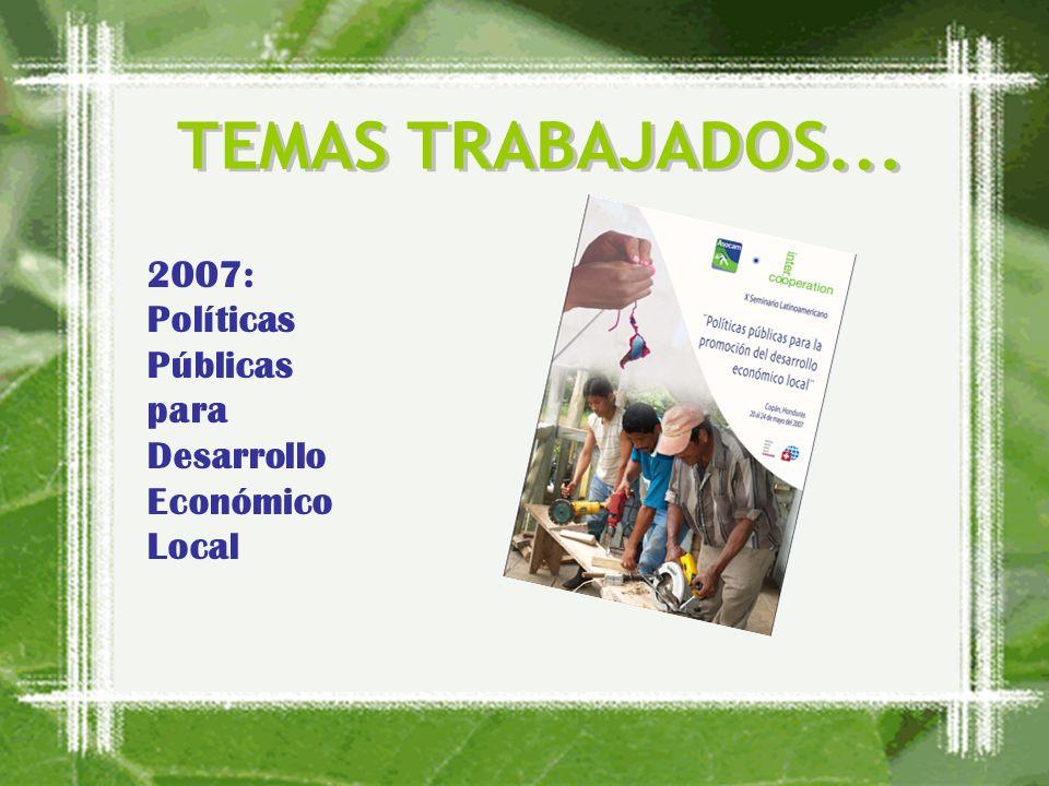 2008: Capacidades para el Desarrollo Territorial 2009: Agua y Cambio Climático