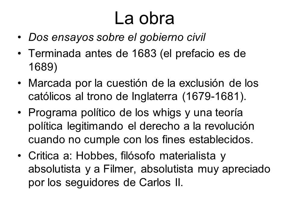 La obra Dos ensayos sobre el gobierno civil Terminada antes de 1683 (el prefacio es de 1689) Marcada por la cuestión de la exclusión de los católicos