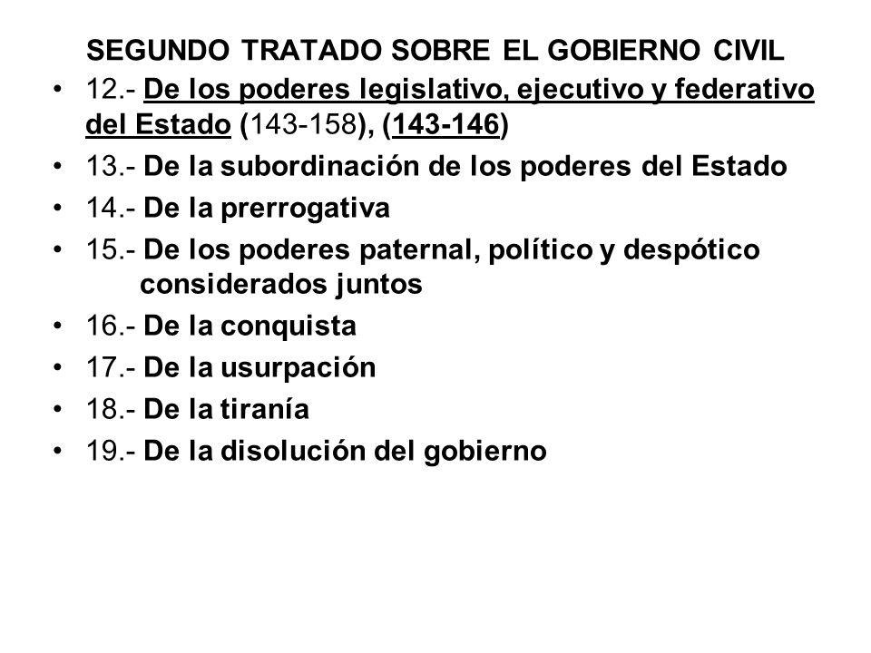 SEGUNDO TRATADO SOBRE EL GOBIERNO CIVIL 12.- De los poderes legislativo, ejecutivo y federativo del Estado (143-158), (143-146) 13.- De la subordinaci