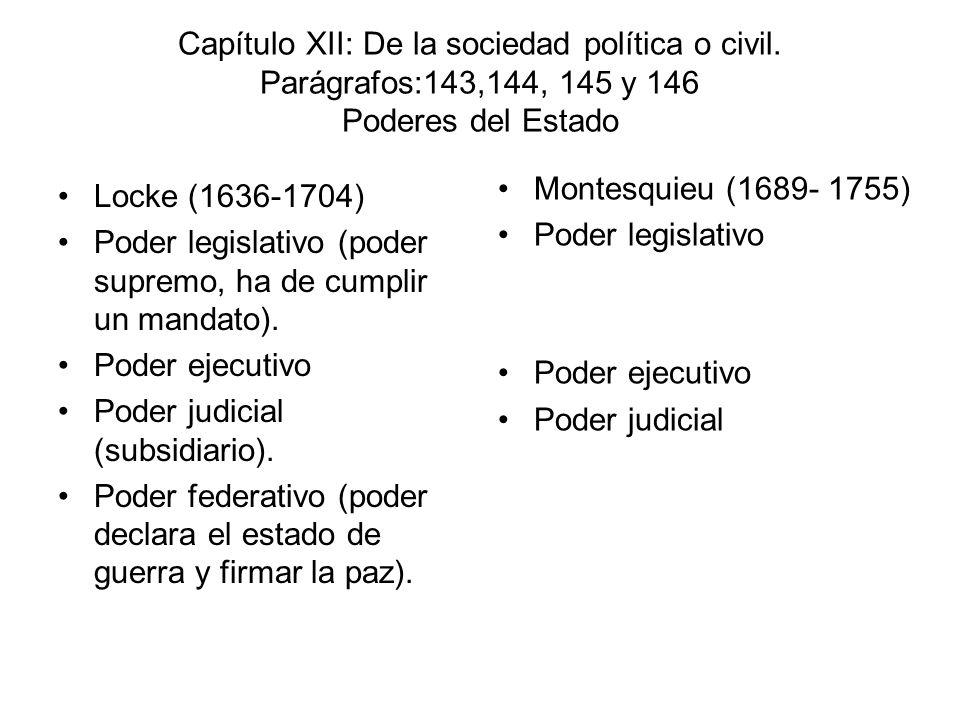 Capítulo XII: De la sociedad política o civil. Parágrafos:143,144, 145 y 146 Poderes del Estado Locke (1636-1704) Poder legislativo (poder supremo, ha