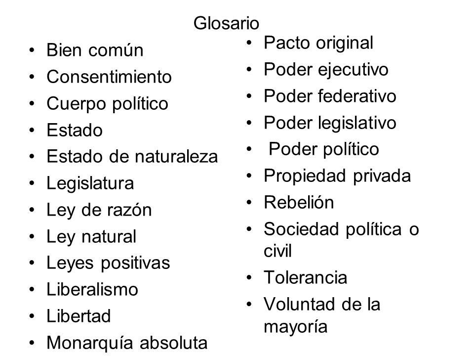Glosario Bien común Consentimiento Cuerpo político Estado Estado de naturaleza Legislatura Ley de razón Ley natural Leyes positivas Liberalismo Libert