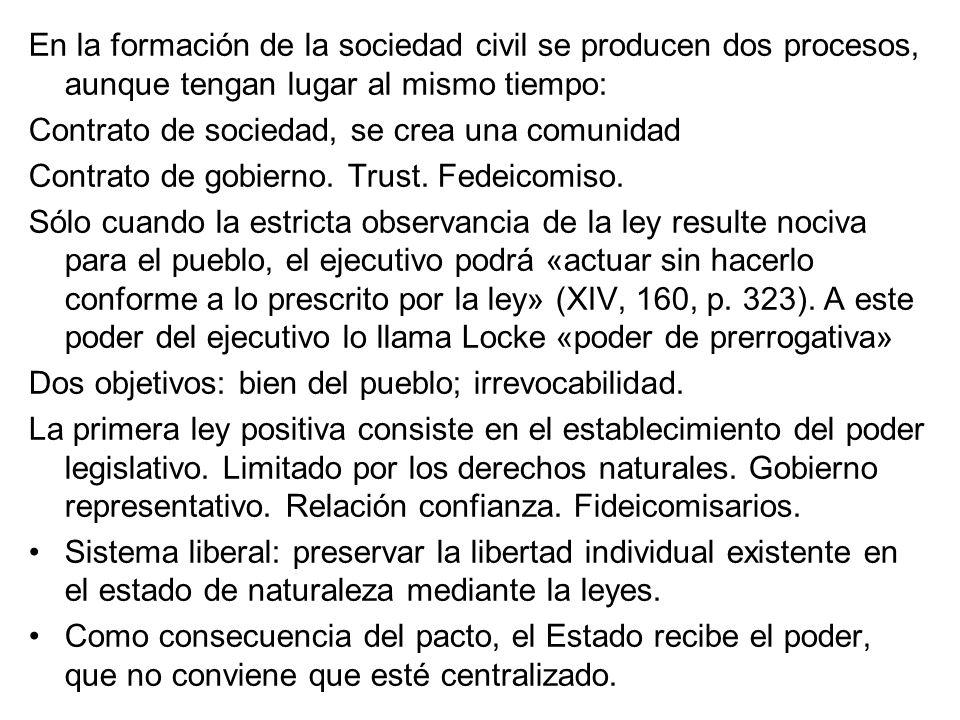 En la formación de la sociedad civil se producen dos procesos, aunque tengan lugar al mismo tiempo: Contrato de sociedad, se crea una comunidad Contra