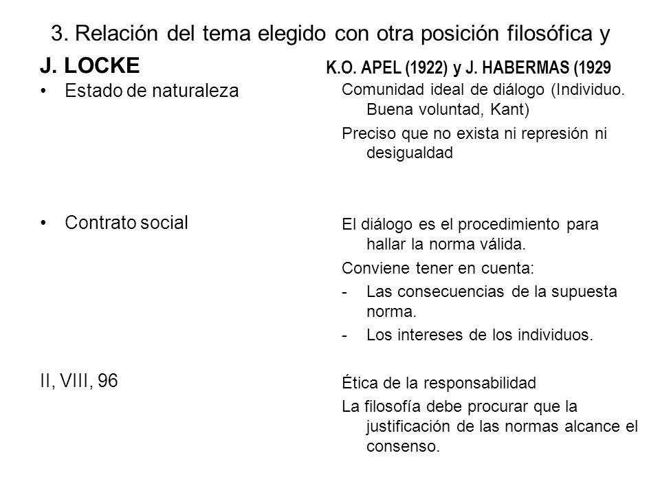 3. Relación del tema elegido con otra posición filosófica y J. LOCKE Estado de naturaleza Contrato social II, VIII, 96 K.O. APEL (1922) y J. HABERMAS