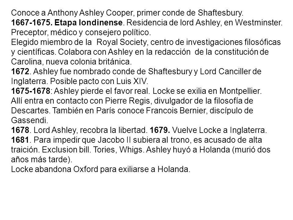 Conoce a Anthony Ashley Cooper, primer conde de Shaftesbury. 1667-1675. Etapa londinense. Residencia de lord Ashley, en Westminster. Preceptor, médico