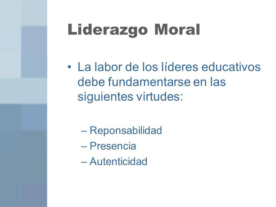 Liderazgo Moral La labor de los líderes educativos debe fundamentarse en las siguientes virtudes: –Reponsabilidad –Presencia –Autenticidad