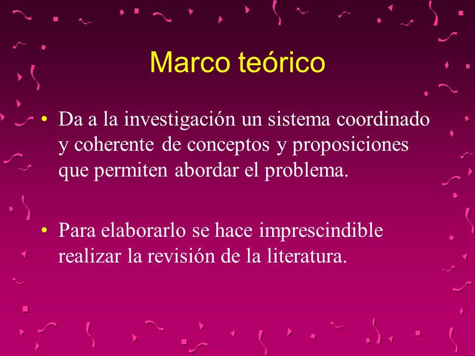 Marco teórico Da a la investigación un sistema coordinado y coherente de conceptos y proposiciones que permiten abordar el problema. Para elaborarlo s