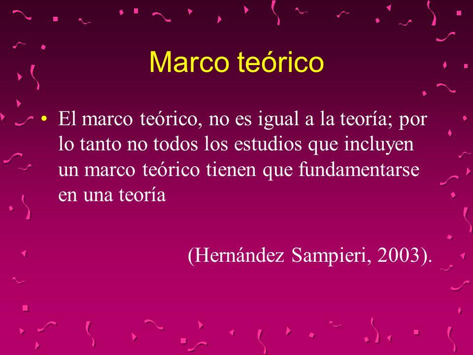 Marco teórico El marco teórico, no es igual a la teoría; por lo tanto no todos los estudios que incluyen un marco teórico tienen que fundamentarse en