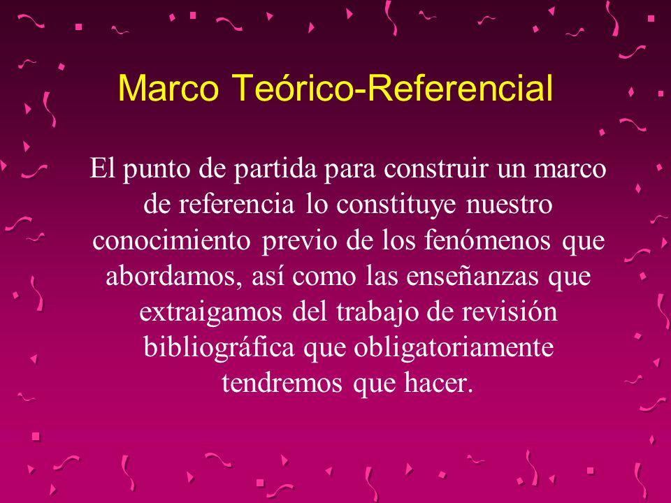Marco Teórico-Referencial En la investigación cualitativa este marco no debe enmarcar (delimitar) la búsqueda del investigador, pues sólo es referencial, es decir, sólo tiene por finalidad exponer lo que se ha hecho hasta el momento para esclarecer el fenómeno objeto de la investigación.