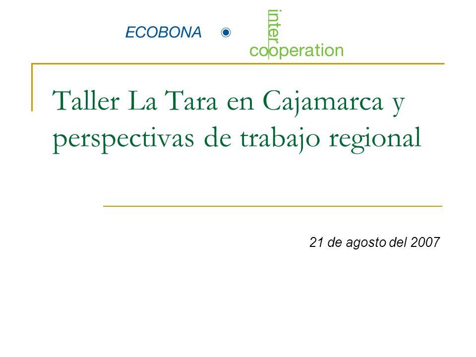 Trabajo de grupos GRUPO 2 Transformación Comercialización Organización de la cadena GRUPO 1 Producción, Asistencia técnica Investigación 1.Qué acciones exitosas se han trabajando en Tara en Cajamarca que han permitido el desarrollo de la Cadena.