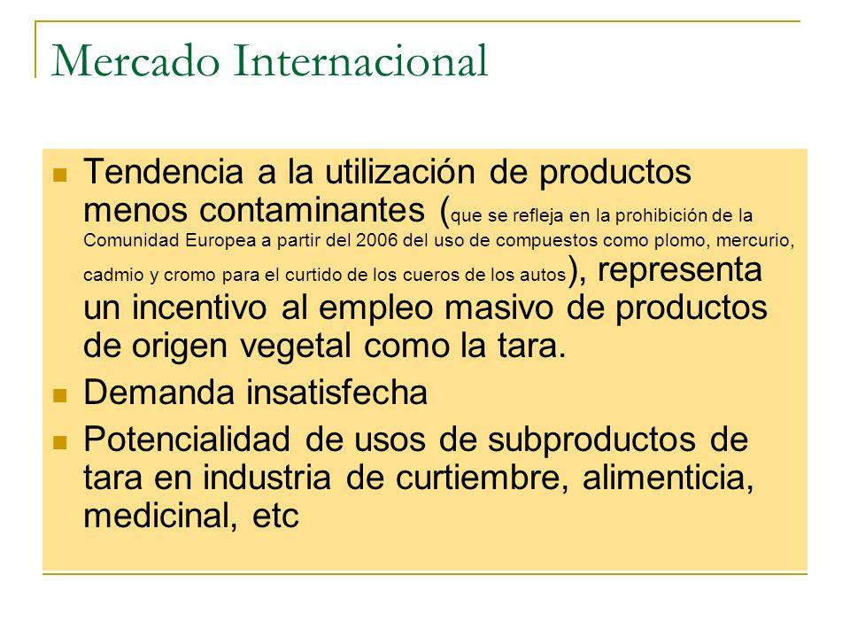 Mercado Internacional Tendencia a la utilización de productos menos contaminantes ( que se refleja en la prohibición de la Comunidad Europea a partir