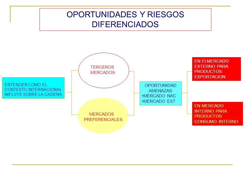 ENTENDER COMO EL CONTEXTO INTERNACIONAL INFLUYE SOBRE LA CADENA TERCEROS MERCADOS PREFERENCIALES OPORTUNIDAD AMENAZAS MERCADO NAC MERCADO EXT EN ELMER