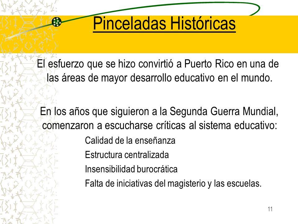 11 Pinceladas Históricas El esfuerzo que se hizo convirtió a Puerto Rico en una de las áreas de mayor desarrollo educativo en el mundo. En los años qu