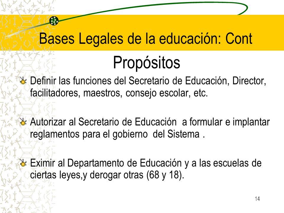 14 Bases Legales de la educación: Cont Propósitos Definir las funciones del Secretario de Educación, Director, facilitadores, maestros, consejo escola