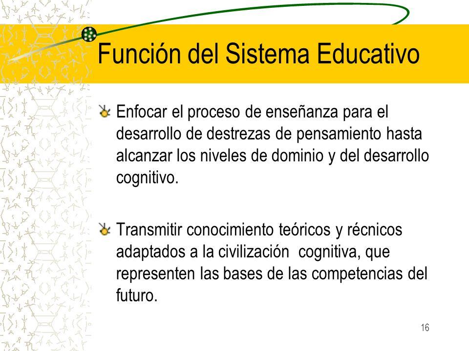 16 Función del Sistema Educativo Enfocar el proceso de enseñanza para el desarrollo de destrezas de pensamiento hasta alcanzar los niveles de dominio