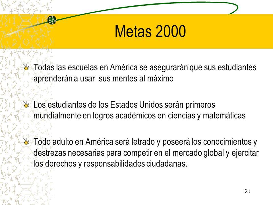 28 Metas 2000 Todas las escuelas en América se asegurarán que sus estudiantes aprenderán a usar sus mentes al máximo Los estudiantes de los Estados Un