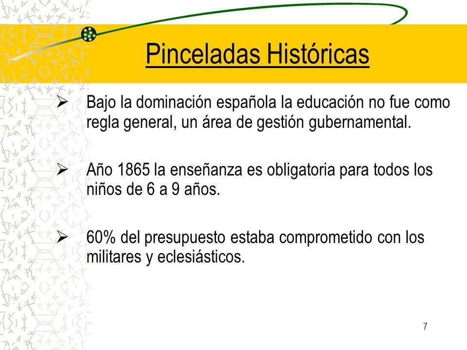 7 Pinceladas Históricas Bajo la dominación española la educación no fue como regla general, un área de gestión gubernamental. Año 1865 la enseñanza es