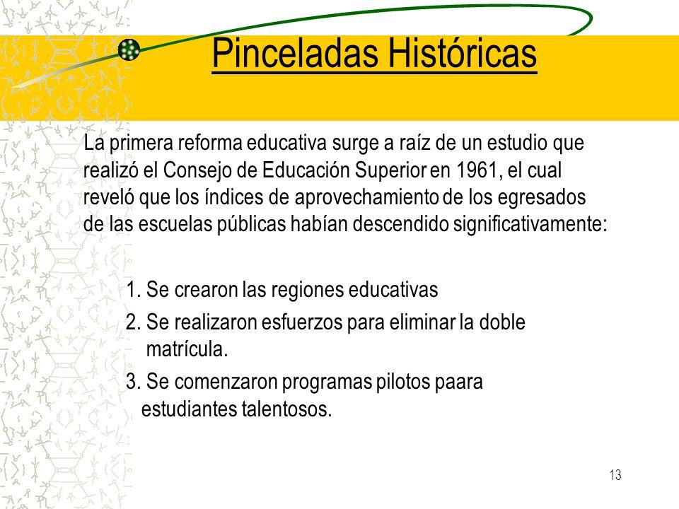 13 Pinceladas Históricas La primera reforma educativa surge a raíz de un estudio que realizó el Consejo de Educación Superior en 1961, el cual reveló