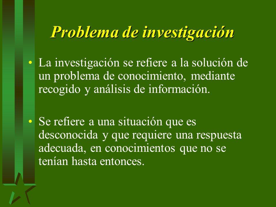 Problema de investigación La investigación se refiere a la solución de un problema de conocimiento, mediante recogido y análisis de información.
