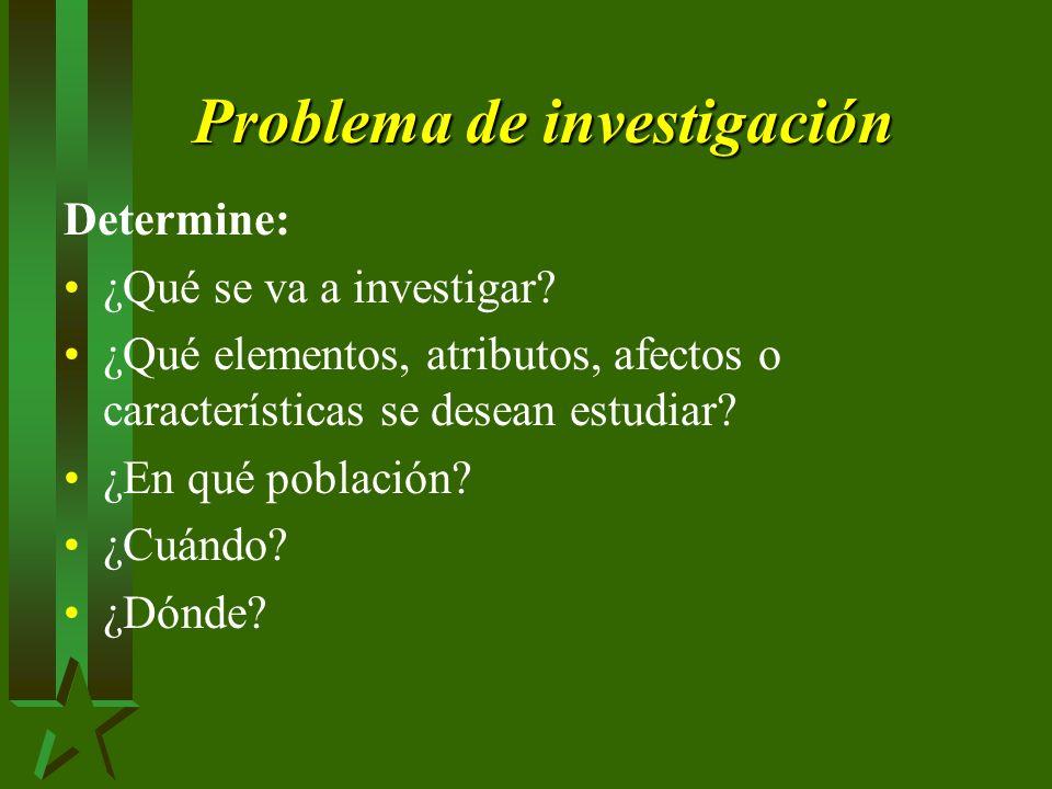 Problema de investigación Determine: ¿Qué se va a investigar.