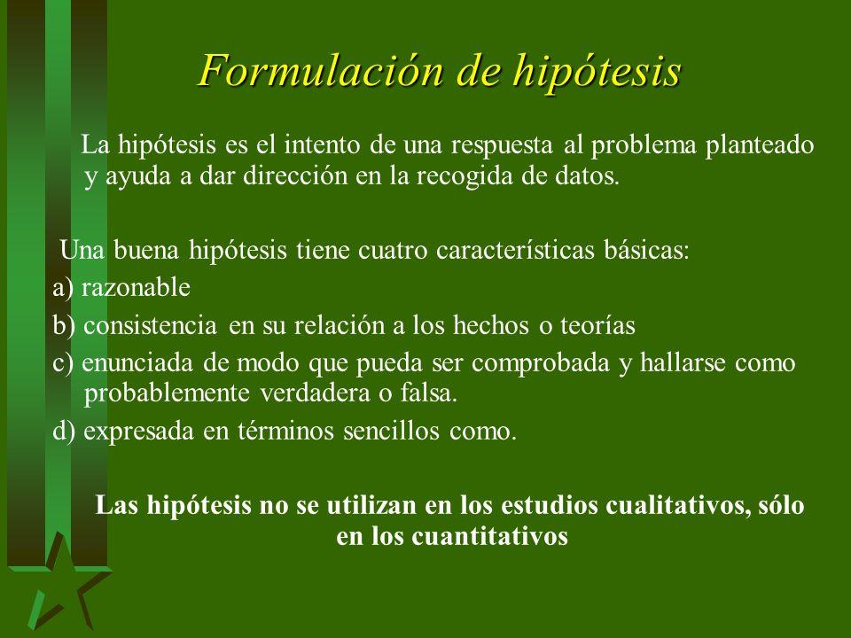 Formulación de hipótesis La hipótesis es el intento de una respuesta al problema planteado y ayuda a dar dirección en la recogida de datos.