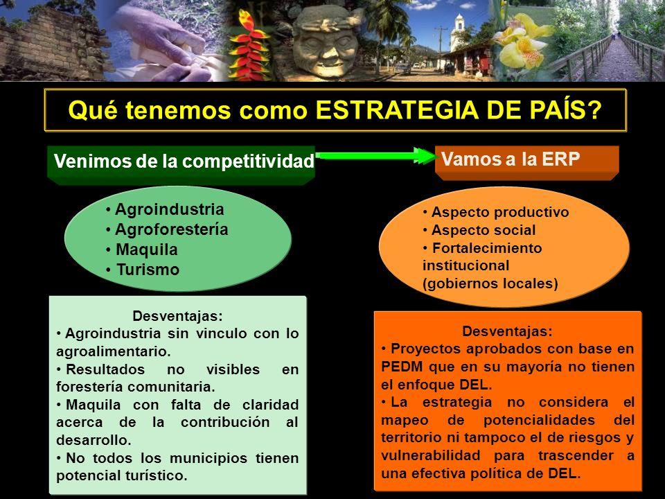 Agroindustria Agroforestería Maquila Turismo Aspecto productivo Aspecto social Fortalecimiento institucional (gobiernos locales) Qué tenemos como ESTR